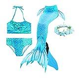 Guter Handwerker Mädchen Meerjungfrauenschwanz zum Schwimmen,Mermaid Tail, für Mädchen, Jungen, Kinder und Erwachsene Monofin Girlande INKLUSIVE (Blauer Engel, 140)
