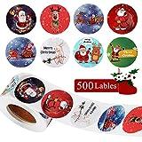500 Stück Weihnachtsaufkleber, Geschenkaufkleber Weihnachten Rentier Santa Xmas Aufkleber, Weihnachtssticker Selbstklebend Merry Christmas Sticker für Papiertüten Geschenkverpackung Weihnachtskarten