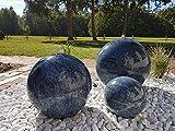 garten-wohnambiente Kugelbrunnen 28 cm Marmor blau Edelstahl Komplettset Kugel Wasserspiel