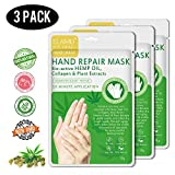 Hanf-Handmaske 3er Pack, Handmaske Spa-Handschuhe reparieren raue Haut für trockene Hände, feuchtigkeitsspendende Handhandschuhe, um trockene matte Haut für Frauen und Männer wieder aufzufüllen