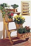 GASPO Blumentreppe Flora 3-stufig   80 x 56 x 60 cm   aus massivem Holz, Blumenständer für Balkon und Garten