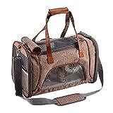 PETTOM Transporttasche für Katzen Hunde Langlebiges Kationisches Leinen Tragetaschen Airline Approved Gut für die Reise und Den Täglichen Gebrauch (Braun)