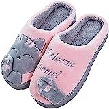 JACKSHIBO Herren Hausschuhe, Warme Plüsch Hausschuhe Indoor rutschfeste Slippers Cartoon Cat Pantoffeln Für Damen, Rosa, 38/39 EU