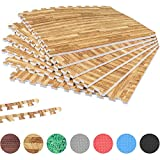 GORILLA SPORTS Schutzmatten-Set mit Endstücken 6 Puzzle-/Unterleg-Matten 62,5 x 60,5 x 1,2 cm, Holzoptik