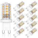 AGOTD 4W G9 LED Lampe, 2700k warmweiß Kein Flackern LED Leuchtmittel, 400 Lumen, Nicht Dimmbar 360 Grad Winkel, Ersatz 40W G9 Halogenlampe, 10er Pack