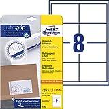 AVERY Zweckform 4782 Universal Etiketten (A4 mit ultragrip 97 x 67,7 mm, 30 Blatt, Papier matt, bedruckbar, selbstklebend, 240 Klebeetiketten) weiß