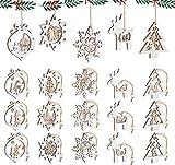 Mocraft 20 Stücke Weihnachtsbaumschmuck aus Holz,Christbaumschmuck Hängen mit Schnur für Weihnachtsdekoration Handwerk,Weihnachten Verzierung