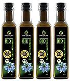 Kräuterland - Bio Schwarzkümmelöl gefiltert 1000ml (4x250ml) - 100% rein, schonend kaltgepresst, ägyptisch, vegan - Frischegarantie: täglich mühlenfrisch direkt vom Hersteller