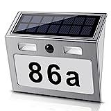 Solar beleuchtete Hausnummer mit 7 LEDs, ECHTPower Solar Hausnummer Solar Hausnummerleuchte mit Dämmerungsschalter Bewegungsmelder aus Edelstahl, umweltfreundlich, weiß