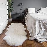 Teppiche, Weiche und Bequeme Flauschige Langhaarige Lammfell-Teppiche, Warme Kunstpelz-Haushaltspelz-Teppiche, Fellteppich für Wohnzimmersofas, Kinderzimmer und Schlafzimmer (Weiß-60 x 160 cm)
