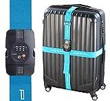 PEARL Kofferband: Kreuz-Koffergurt mit TSA-zertifiziertem Zahlenschloss, 5 x 400 cm (Koffergürtel)