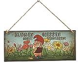 Annastore Dekoschild Gartenzwerg Blumen giessen Nicht vergessen! 30,5 x 13 cm - Metallschild Gartenschild