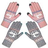 Chalier 2 Paare Damen Winter Warme Touchscreen Handschuhe Winterhandschuhe Schnee Blume Druck halten warm mit Kaschmir für Frauen und Männer MEHRWEG