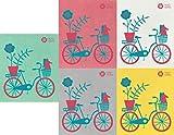 Trendy Tripper Schweden-Geschirrtuch Mid-Century Modern Design 5er Set Bike + Fahrräder 5 Big Red + Turquoise