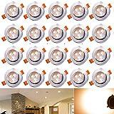 Hengda® 20 x 3W LED Einbauleuchte Wohnzimmer Decken Leuchte Lampe Spot Strahler Set 2800-3200k Warmweiß 85-265V AC