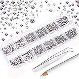 Mwoot 2000 Stück Steinchen, Glitzersteine in 6 Größe (2-5mm), Strassstein Set mit Pinzette und Picking Stift für Nageldesign AB Krystal