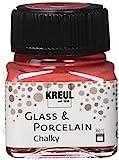 Kreul 16634 - Glass & Porcelain Chalky Cozy Red, 20 ml Glas, sanft - matte Glas- und Porzellanmalfarbe auf Wasserbasis, schnelltrocknend, deckend