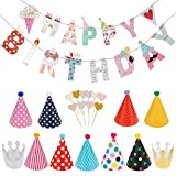 Lictin Geburtstag Dekoration Set Happy Birthday Girlande Partyhüte Party Kegel Hüte