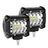 Arbeitsscheinwerfer, LTPAG 2 x 120W LED Arbeitsscheinwerfer 4 Zoll 12000LM 6000K IP68 Wasserdicht Offroad Scheinwerfer Arbeitslicht mit 40 LEDs Zusatzscheinwerfer Bar Car LED Spotlight 3 Reihen