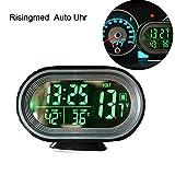 Digital Auto Thermometer Uhr MultifunktionTemperatur Voltmeter thermometer Elektronische Wecker Messgerät Spannung Anzeige mit LED Hintergrundbeleuchtung grün