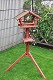 Petsfit Futterhaus/Vogelhaus für Vögel mit Ständer aus Holz Vogelhäuschen Vogelfutterhaus mit Strukturputzdach
