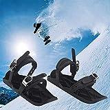Aegilmcshoes Bindung Erwachsene Ski Skischuh, Mini Ski Alpin Skates for Snow, Skischuhe Für Männer Und Frauen, Rostfreier Stahl Schwarz Unisex Tragbar Short Skiboard Snowblades Verstellbar