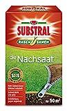 Substral Rasensamen Die Nachsaat, Nachsaatrasen, Rasensaat, Schnell keimende strapazierfähige Rasenreparatur-Mischung mit Grünfärbung gegen Vogelfraß, 1 kg für 50 m²