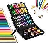 Buntstift, Wasserfarbe & Wachsmalkreide 3 in 1, 72 Farben Professionelles Stifte-Set, Ideal für Ausmalbilder Erwachsene, Mandala, Malbuch, Schreibgeräte und Schule