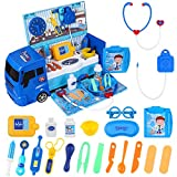 iBaseToy Arztkoffer Arzt Spielzeug Kinder mit Großem Krankenwagenspielzeug (42x19.5x16 cm), Medizinisches Kit Lernspielzeug Spielzeug für Jungen Mädchen | Arzt Spielset - 32 Teilig