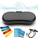 Bluefin Fitness Ultraflache Vibrationsplatte mit Leisem 1000-Watt Motor   LCD Display & Bluetooth Lautsprecher   5 Trainings-Programme - 180 Level   Inkl. Fernbedienung, Trainingsbänder & Übungsposter