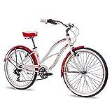 CHRISSON 26 Zoll Beachcruiser Sandy Weiss rot mit 6 Gang Shimano Tourney Kettenschaltung, Damenfahrrad im Retro Look, Vintage Cruiser Bike