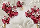 wandmotiv24 Fototapete Blumen Gold, XXL 400 x 280 cm - 8 Teile, Fototapeten, Wandbild, Motivtapeten, Vlies-Tapeten, Schmetterling, Diamanten M1822