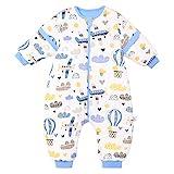 Baby schlafsack mit Beinen Warm Lined Winter Langarm Winter schlafsack mit Fuß und Baby schuhe 3,5 Tog (Körpergröße 92cm-102cm, Blaues Flugzeug)