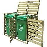 mewmewcat Outdoor Mülltonnenbox Mülltonnenverkleidung Mülltonnenschrank aus Imprägniertes Holz für 2 Tonne 240L Müllcontainer