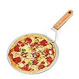 DIYARTS Edelstahl Pizzaschaufel Runde Kuchen Transfer Pizzaheber mit Holzgriff Backschaufel Paddel Backen Werkzeuge zum Backen Hausgemachte Pizza und Brot Kuchen & Kekse