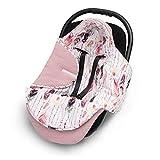 EliMeli EINSCHLAGDECKE für Babyschale Baby Decke für Autositz und Kinderwagen aus Waffelstoff und Baumwolle mit Füllung, universal z.B. Maxi Cosi Kinderwagendecke (Rosa - Federn)