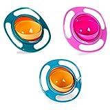 Berry President (TM), 3er-Set Magic Bowl, 360 Grad drehbar, auslaufsicher, Gyro-Schüssel mit Deckel, für Kleinkinder, Babys, Kinder, Orange + Blau + Grün