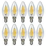 10er 6W E14 Kerze LED Lampe, Kein Flackern Dimmbar Filament Lampe E14 Glühfaden ersetzt 40W Glühlampe, GreenSun LED Lighting Warmweiß 2800K Fadenlampe, Glas, 360° Abstrahlwinkel