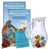 EDELSTEIN WASSER VERDAUUNG & STOFFWECHSEL 5-tlg SET. 300g WASSERSTEINE zur Wasseraufbereitung für Trinkwasser + 1,0 L Glaskrug Karaffe + Anleitung + Zubehör. 90045-2