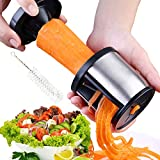 XREXS Spiralschneider Gemüse Edelstahl für Gemüse Spiralschneider Hand mit Bürste, Gemüsespaghetti Gemüsehobel, Spiralizer Gemüseschneider für Karotte, Gurke, Kartoffel,Kürbis, Zucchini (Silber)