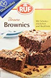 RUF Brownies glutenfrei, Back-Mischung, 4er-Pack, American Chocolate Brownies, saftig mit Schoko-Stückchen, ohne Gluten bei Zöliakie, inkl. Backform
