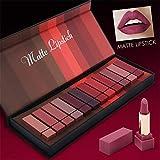 12 Farben Matte Lippenstift Set, Perbeauty Wasserdicht Matte Nude Lipstick Schönheit Lippe Gloss, Sexy Long Lasting Moisturizing Lippenstift with Geschenkbox