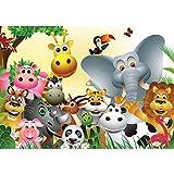Fototapete 254x184 cm PREMIUM Wand Foto Tapete Wand Bild Papiertapete - Kindertapete Tapete Comic Tiere Zootiere Zoo Elefant Löwe Schlange bunt - no. 2830