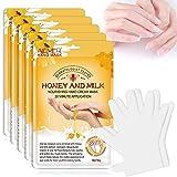 5 Paar Handmaske, Handhautreparatur-Erneuerungsmaske mit Infundiertem Kollagen, Hände Feuchtigkeitshandschuhe für Trockene, Alternde, Rissige Hände (Honig & Milch)