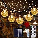 Solar Lichterkette Aussen, Garten Lichterkette 10M 70LED Kristall Kugeln, Lichterkette Außen 8 Modi IP67 Wasserdicht Warmweiß,für Garten,Bäume,Hochzeiten,Weihnachten,Partys