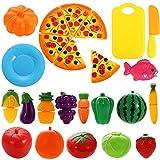 NIWWIN 24 PCS Spiel Essen Set für Kinder Kunststoff Schneiden Pizza Obst und Gemüse vorgeben Spielen Set