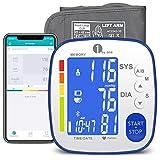1byone Bluetooth Oberarm-Blutdruckmessgerät mit großer Manschette, digitaler automatischer Blutdruck- und Herzfrequenzmessung für den Heimgebrauch, 2×250 Sätze Speicher, LCD Hintergrundbeleuchtung