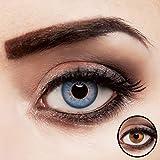aricona Kontaktlinsen ohne Stärke   Premium   Super stark deckend - Blaue Jahreslinsen - 2er Pack