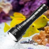 Volador Tauchlampe, 6000 Lumen Tauchen Taschenlampe, 6*CREE XP-L2 LED 4 Modi Unterwasser Taschenlampe, Unterwasser 150M Wasserdicht, Wiederaufladbar Submarine Licht mit 2X 26650 Akku und Ladegerät