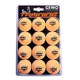 GEWO Unisex– Erwachsene 3-Stern Tischtennisball im handlichen 12er Pack Trainingsball 40, Orange, 40 mm